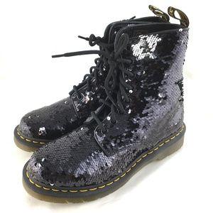 1460 combat boots black silver flip sequins Pascal